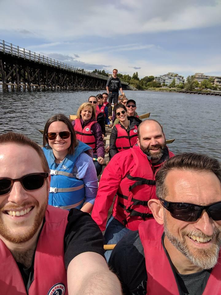 Dragon Boat fun for John Gailus' birthday! Go Team!